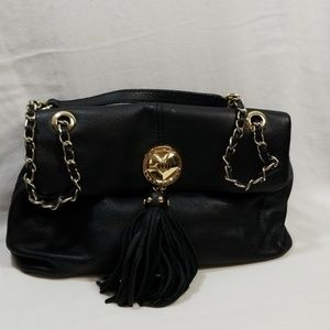 Love Moschino Heart Black Leather Shoulder Bag
